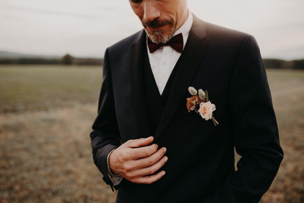 Boutonnière marié bohême