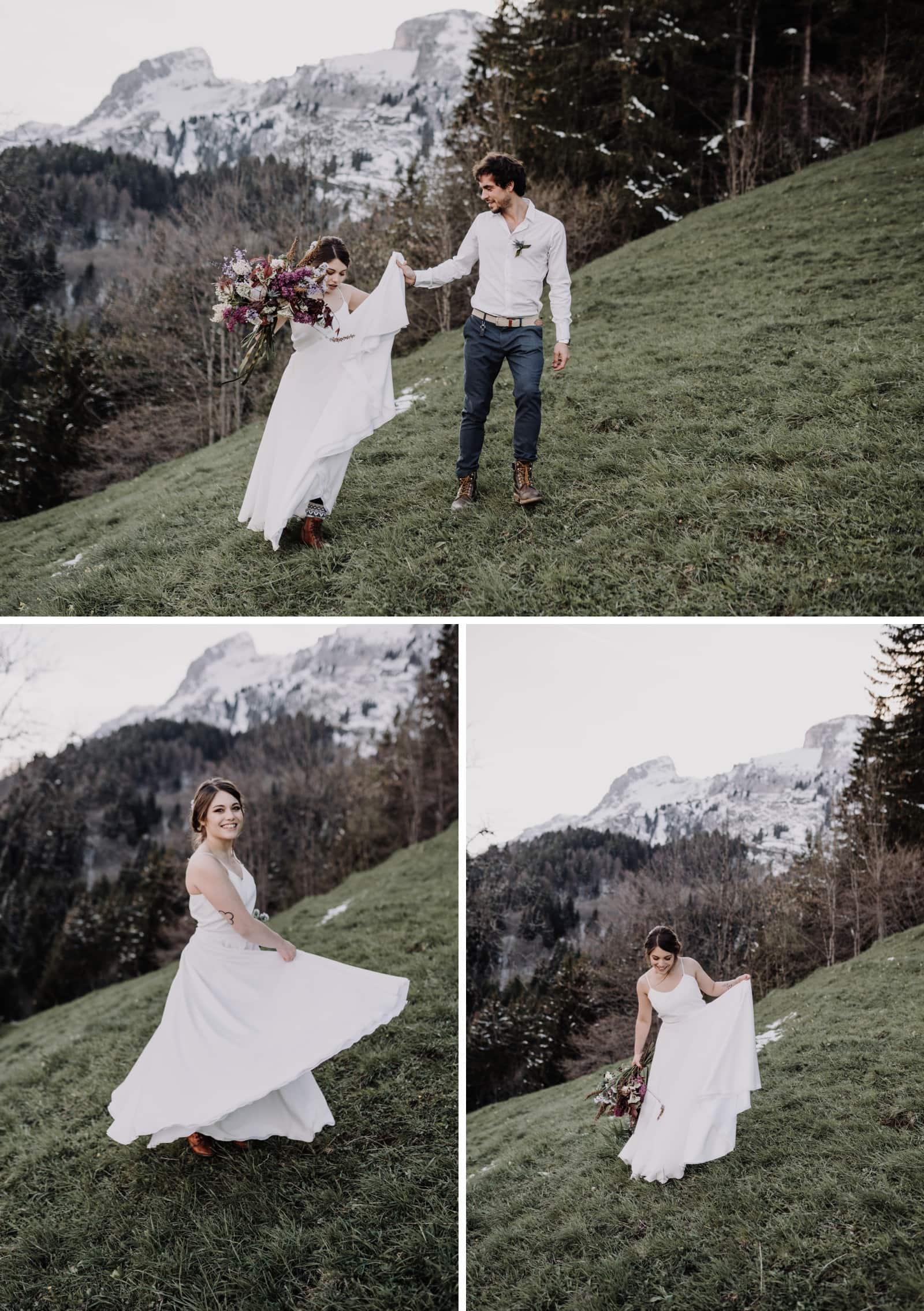 elopement boheme dans les alpes