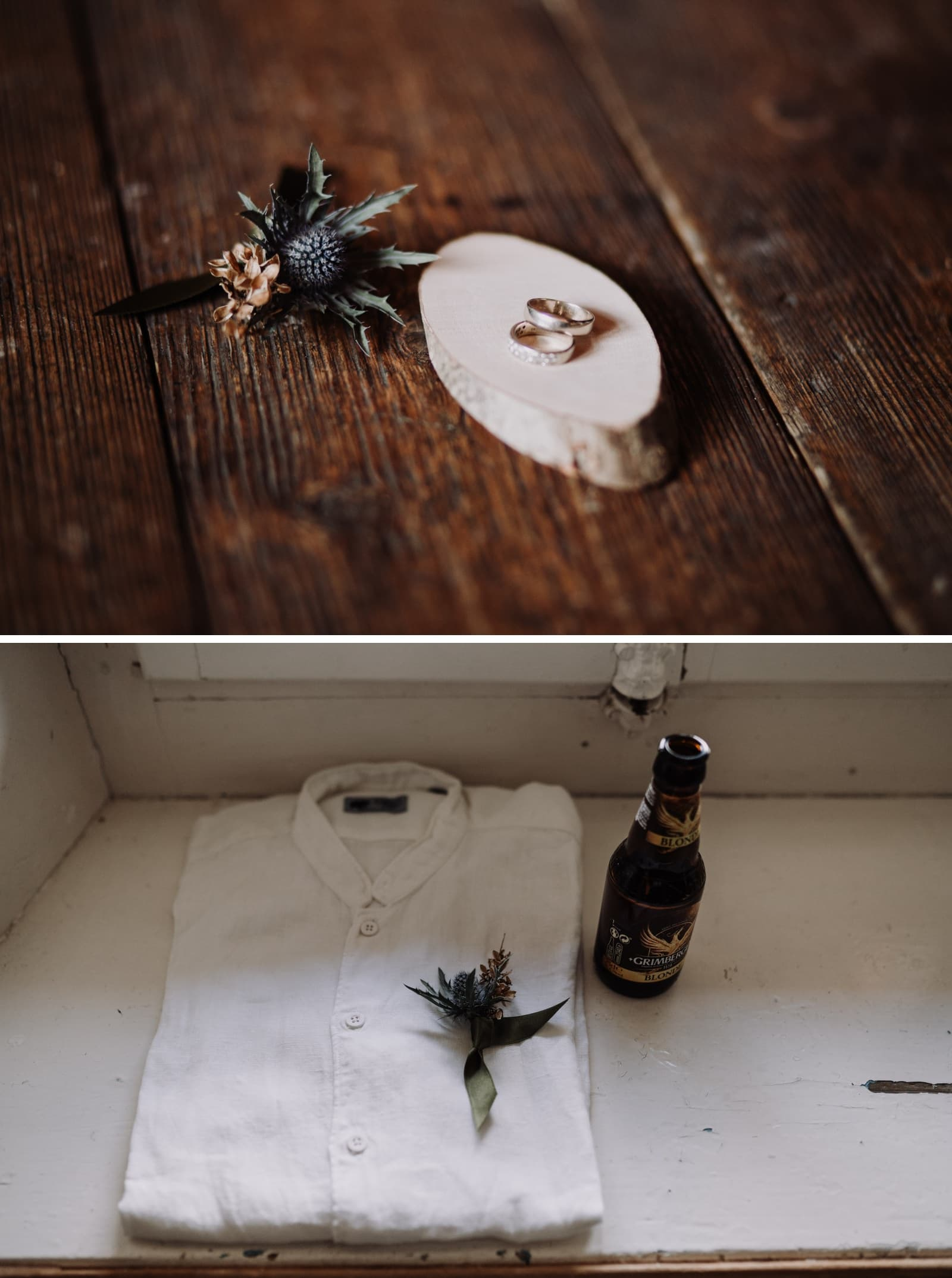 boutonnière et chemise de marié